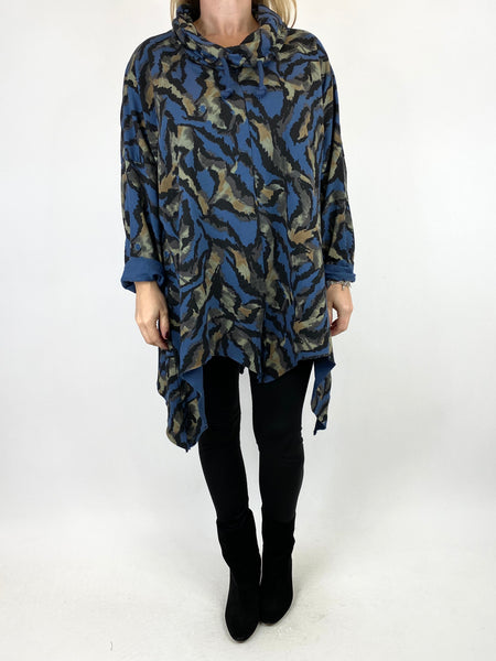Lagenlook Animal Print Cowl Top in Denim. code 50002 - Lagenlook Clothing UK