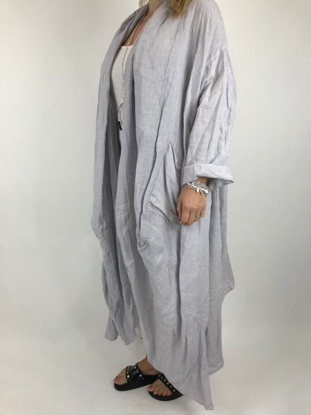 Lagenlook Patti Linen Jacket in Pale Grey. code 5876