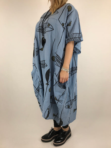 Lagenlook Linen Blend Quirky Patterned Tunic in Sky Blue. code 39113
