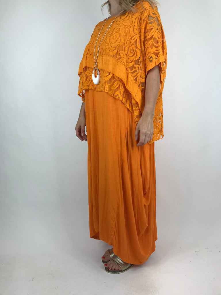 Lagenlook Lace Poncho Top in orange.code 1452