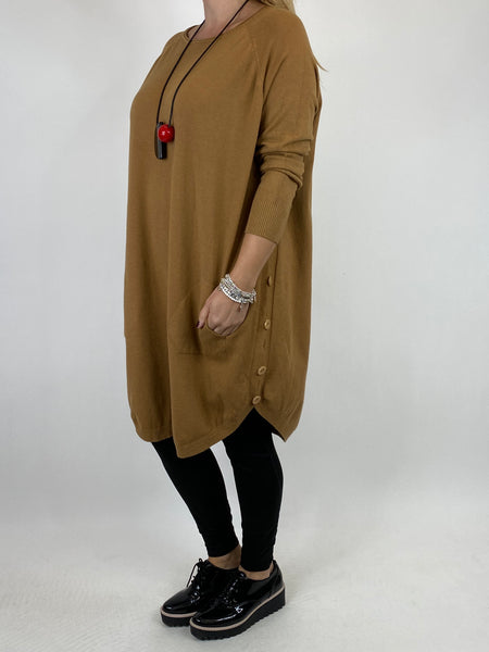 Lagenlook Amelie Button Side Jumper in Camel. code 2560 - Lagenlook Clothing UK