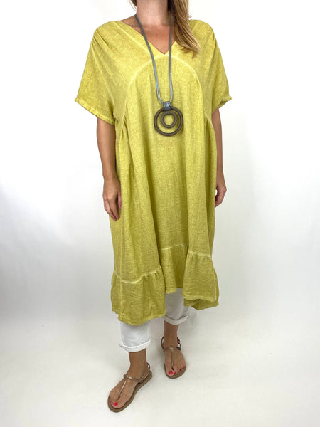 Lagenlook Horton Washed V-Neck top in Yellow code 10436