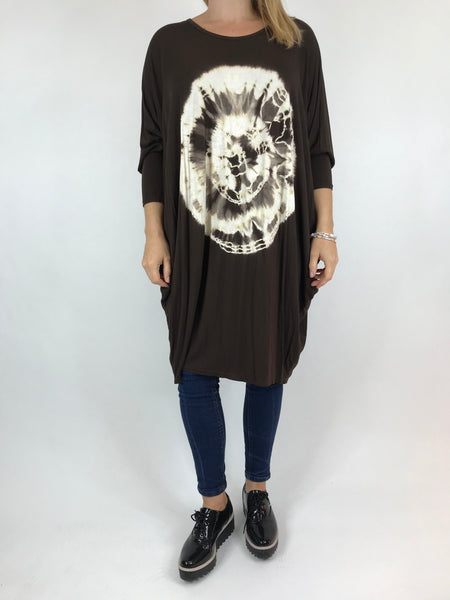 Lagenlook Tie Dye Orb Jersey Tunic in Brown. code 15962