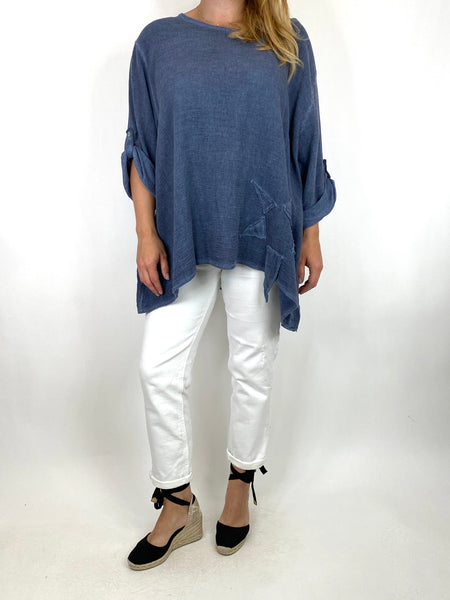 Lagenlook Acidwash Star top in Denim. code 10052