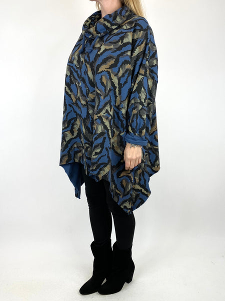 Lagenlook Animal Print Cowl Top in Denim. code 50002