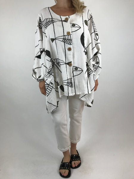 Lagenlook Quirky Patterned Top Jacket in White. code 39112