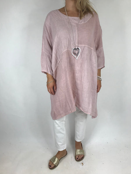 Lagenlook Mia Linen Top in Pink .code 5733