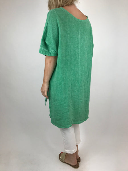 Lagenlook Alto Linen Top in Green. code 5773