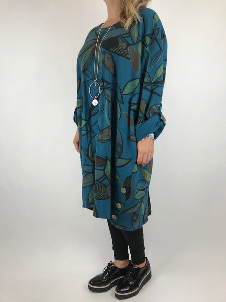 Lagenlook Winter Leaf Tunic in Teal. code 10015 - Lagenlook Clothing UK