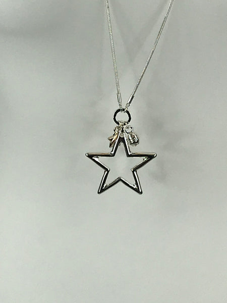 Lagenlook 2 Star rose gold mini star Necklace code JYL28011
