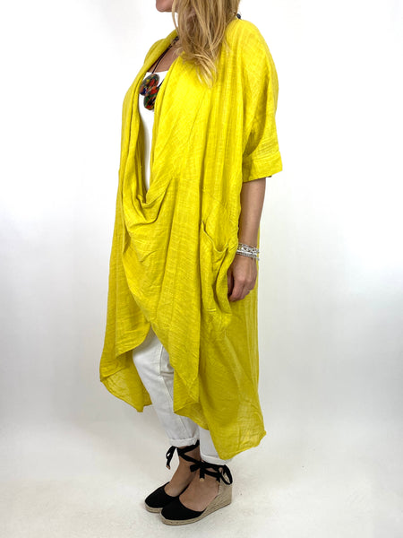 Lagenlook Cotton Wrap Dress Top in Yellow. code 8307