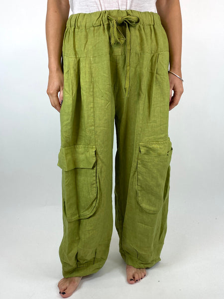 Lagenlook Gene Wide leg Linen Trousers In Lime. code 25201