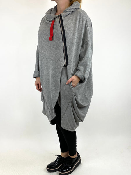 Lagenlook Terri Cocoon Jacket in Grey Marl. code 91168