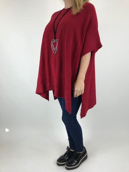 Lagenlook Cable Poncho Jumper in Wine. code 5939