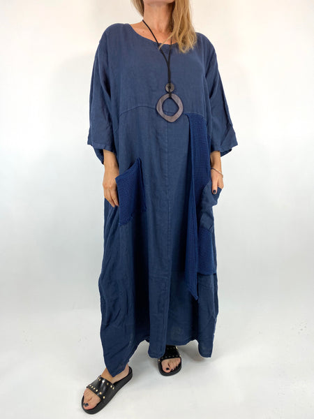 Lagenlook Emma Mesh Panel Linen Tunic in Navy . code 87001