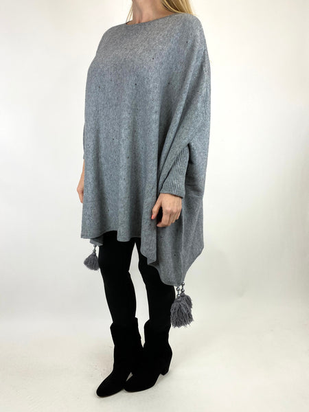 Lagenlook Carla Tassel Sparkle Jumper in Grey. code 2755 - Lagenlook Clothing UK