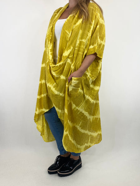 Lagenlook Cotton Tye-Dye Wrap Top in Yellow. code 8308 - Lagenlook Clothing UK