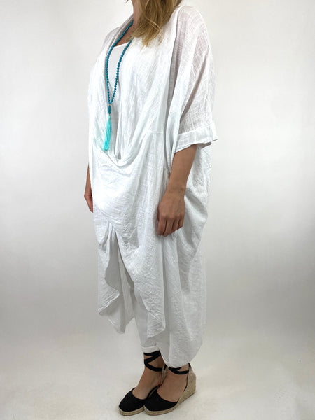 Lagenlook Cotton Wrap Dress Top in White. code 8307