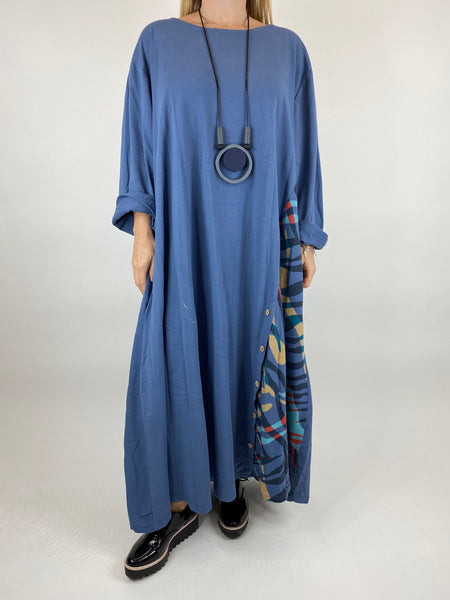Lagenlook Daly Wave Button Skirt Tunic in Denim Blue. code 86201