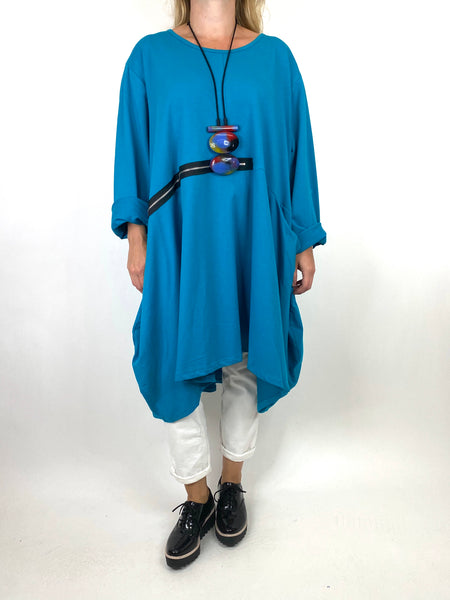 Lagenlook Canham Cotton Zip Side tunic in Teal. code 91113 - Lagenlook Clothing UK