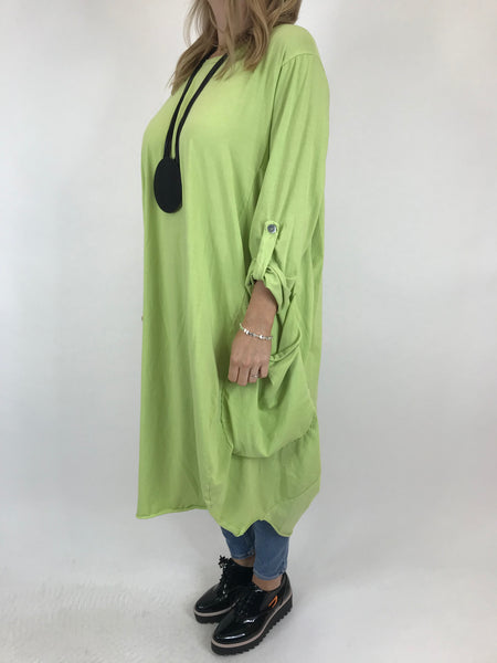 Lagenlook Alicia Pocket Tunic in Lime.code 5626