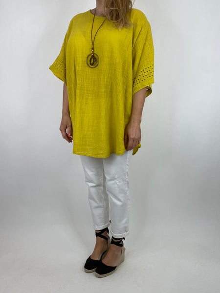 Lagenlook Jondal Broderie Anglaise Top in Yellow. Code 9024