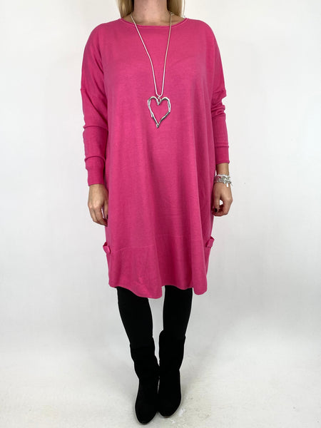 Lagenlook Patsy Button tab detail jumper in Fuchsia. code 2566