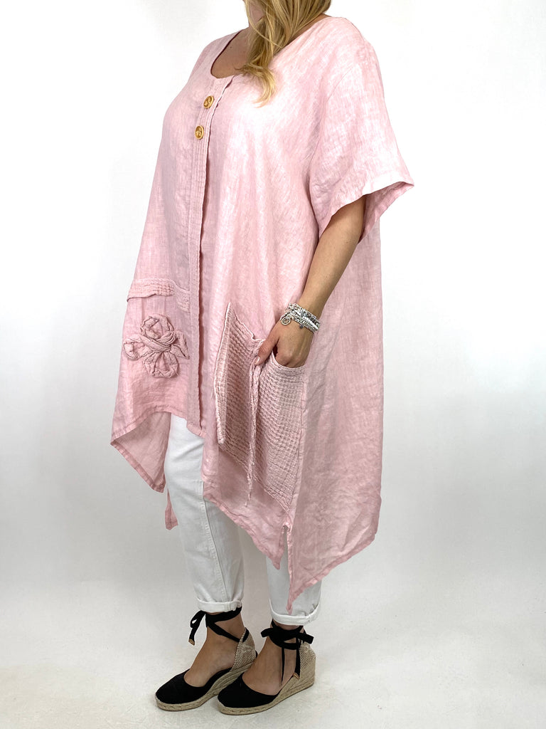 Lagenlook Tara 2 Button Linen Waffle Top in Light Pink .code 91085
