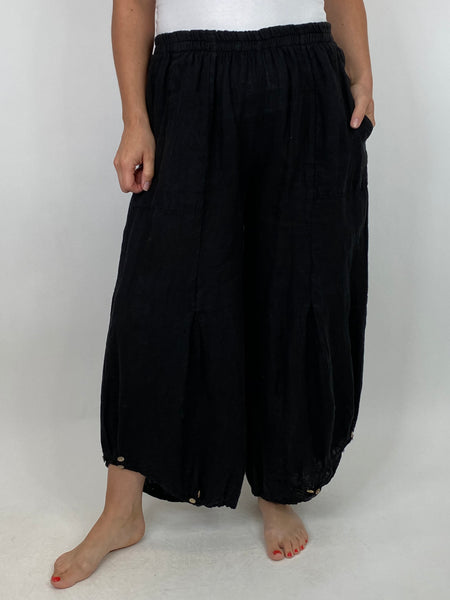 Lagenlook Linen Button Summer Trouser in Black. code 5672