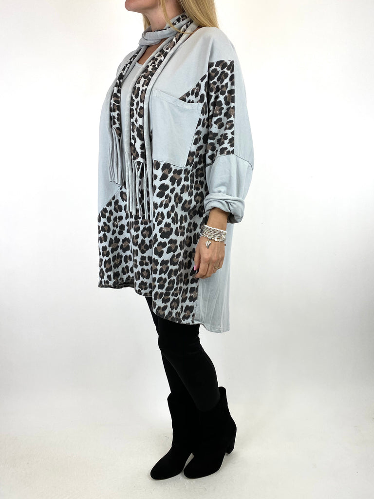 Lagenlook Zena Leopard Print Scarf Top in In Light Grey. .code 10306