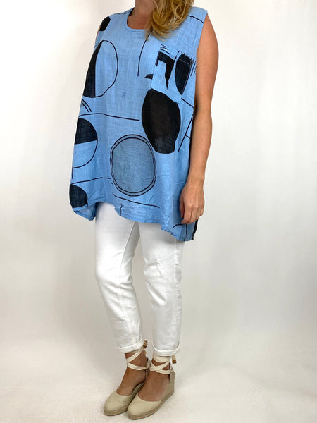 Lagenlook Linen Vest Top in Sky. code 6112