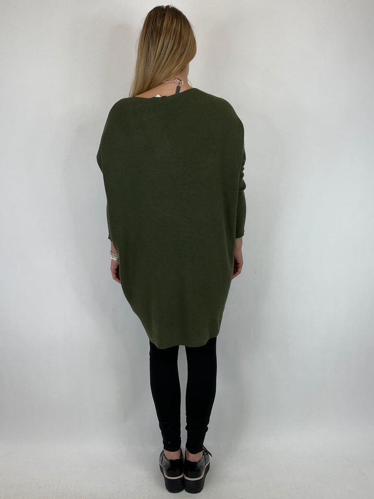 Lagenlook Diana V-neck Angled Pocket Jumper in Khaki. code 922 - Lagenlook Clothing UK