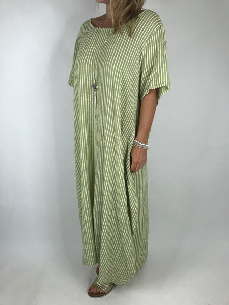 Lagenlook Maria Pinstripe Summer Tunic Dress in Lime. code 5299