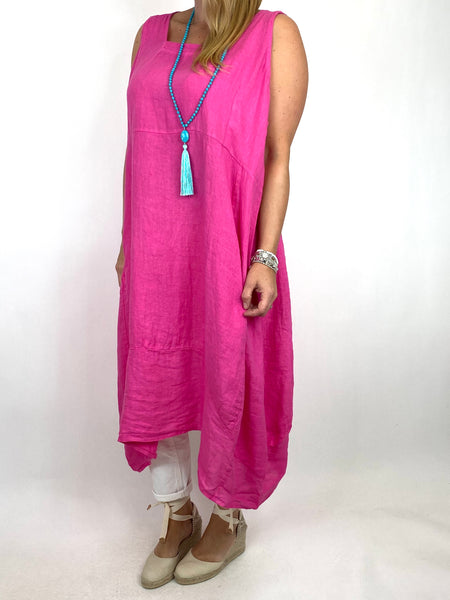 Lagenlook Bella Linen Square neck tunic in Fuchsia. code 8262