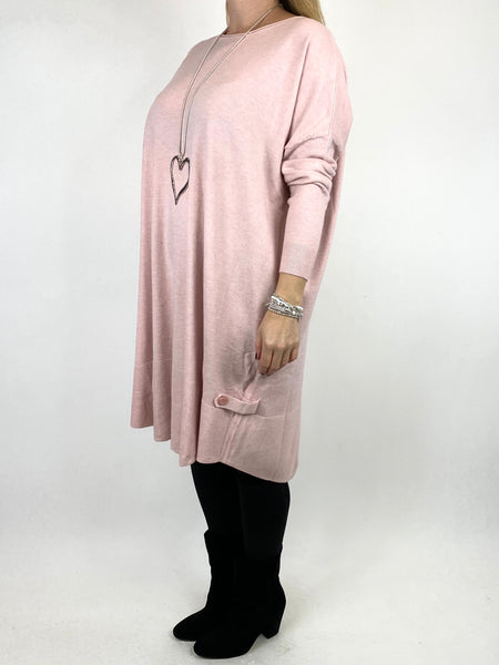 Lagenlook Patsy Button tab detail jumper in Winter Pink. code 2566