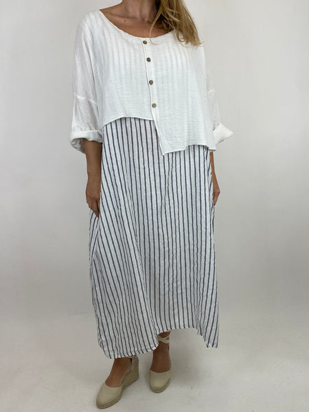 Lagenlook Lucy Stripe Over tank Tunic in White. Code 88213