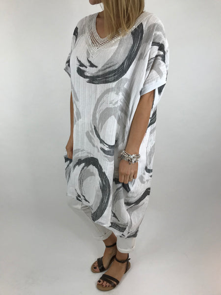 Lagenlook Chloe Swirl Print Summer Tunic in White.code 5709