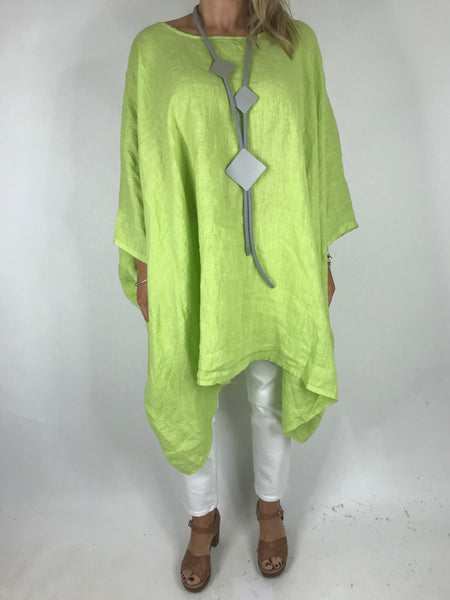 Lagenlook Vera Linen Poncho Top in Lime .code 8956
