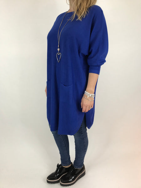 Lagenlook Joanna Bow back jumper in Royal Blue. code 5923