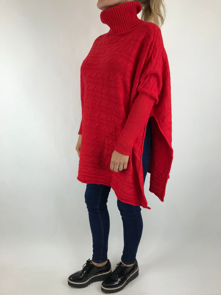 Lagenlook Beth Poncho Cable Textured Jumper in Red. code 5106