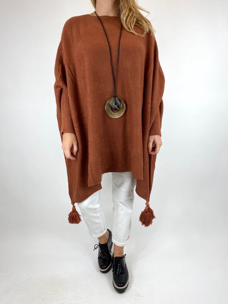 Lagenlook Ella Tassel Jumper in Rust code 2700 - Lagenlook Clothing UK