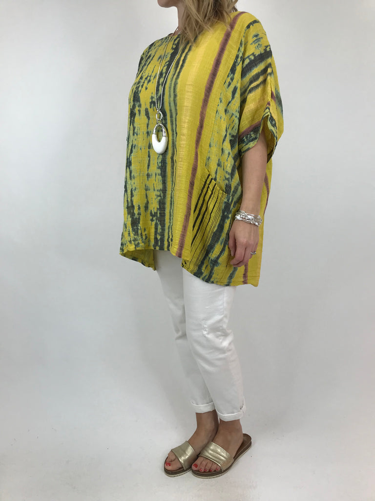 Lagenlook Tie-Dye Summer Top in Yellow. code 11736