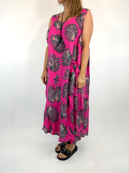 Lagenlook Beverly Palm Leaf Print linen Tunic in Fuchsia. code 6978