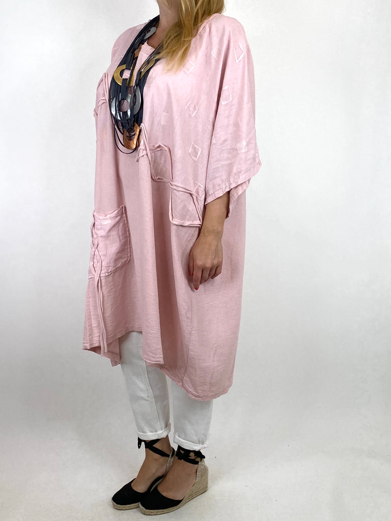 Lagenlook Nelly Twist Front Top in Pale pink. code 91087