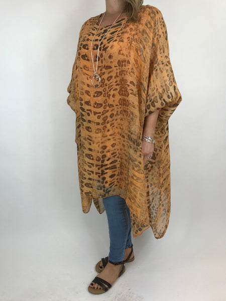 Lagenlook Snake Print Silk Poncho Top in Orange. code 1727s