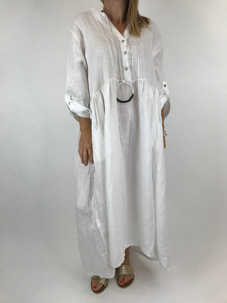 Lagenlook Amy Pintuck Linen Tunic in White. code 9824