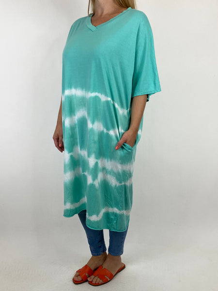 Lagenlook Cara Cotton Mix Tye-Dye V-Neck Top in Mint. code 6888 - Lagenlook Clothing UK