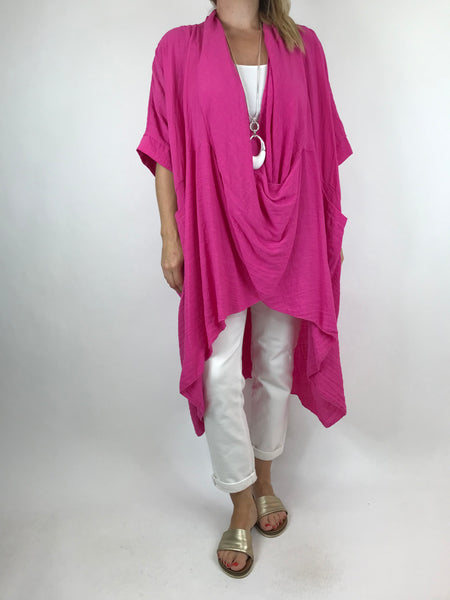 Lagenlook Cotton Wrap Dress Top in Fuchsia. code 4990