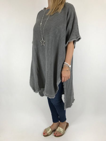 Lagenlook Cala Cotton Raw Edge Top in Charcoal. code 02035