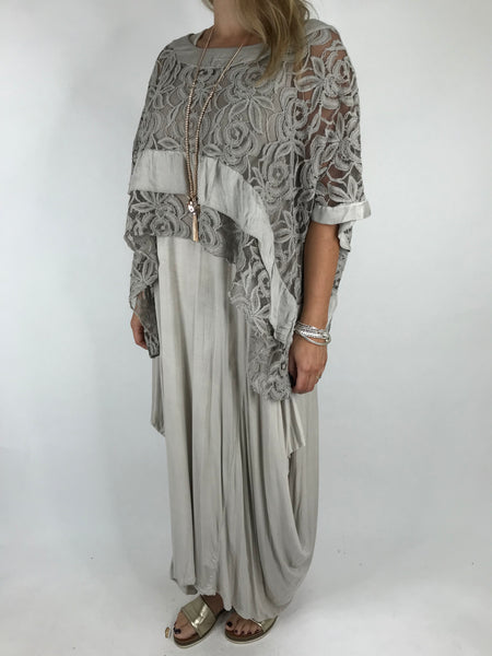 Lagenlook Lace Poncho Top in Mocha .code 1452